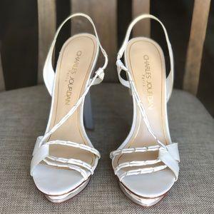 White leather summer heels sandals